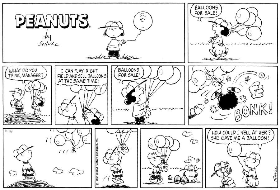 Peanuts Comic Strip for March 28, 1993
