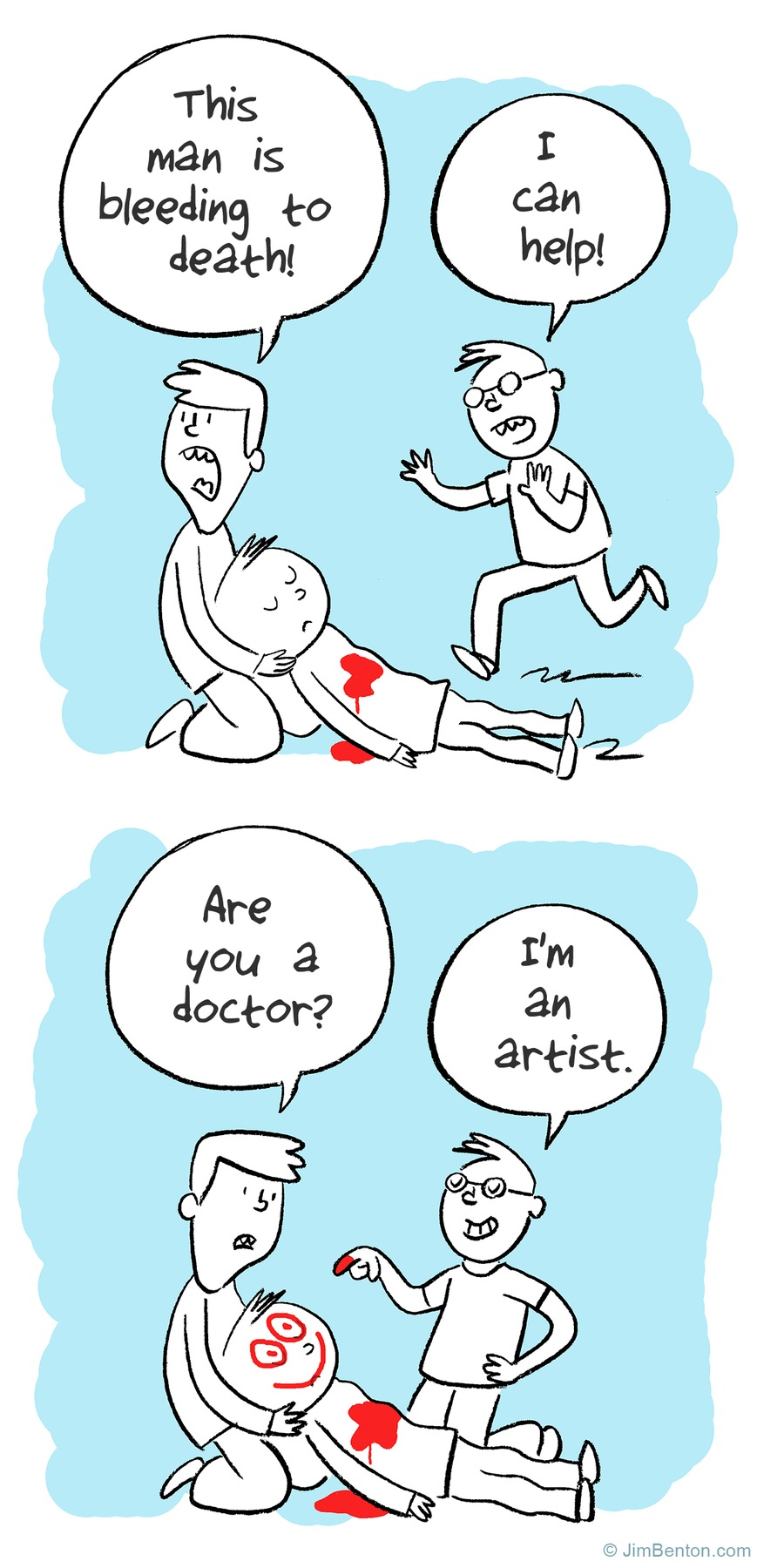 Man: this man is bleeding to death! 
