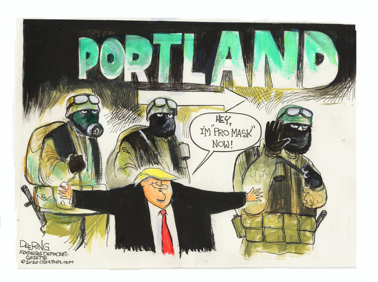 Donald Trump standing in front of his masked, camouflage-wearing storm troopers saying,