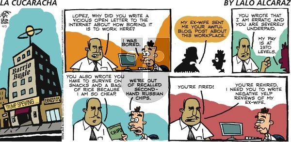 La Cucaracha on Sunday April 3, 2016 Comic Strip