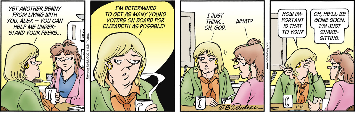 Doonesbury Comic Strip for November 12, 2011