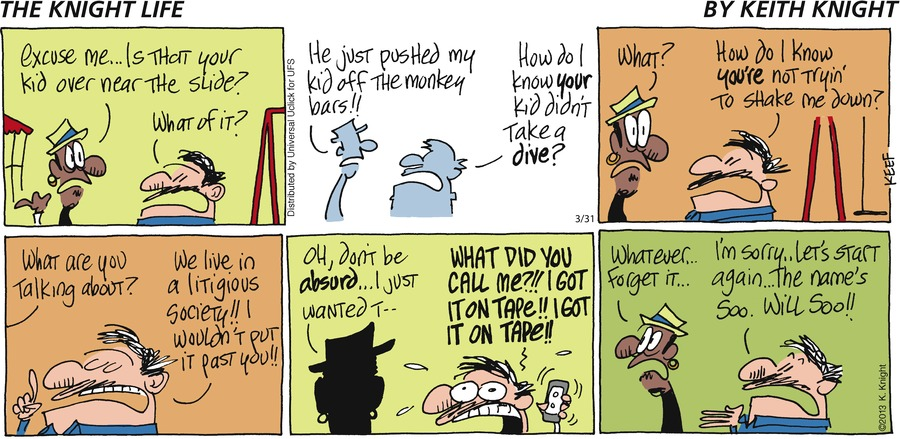 The Knight Life Comic Strip for March 31, 2013