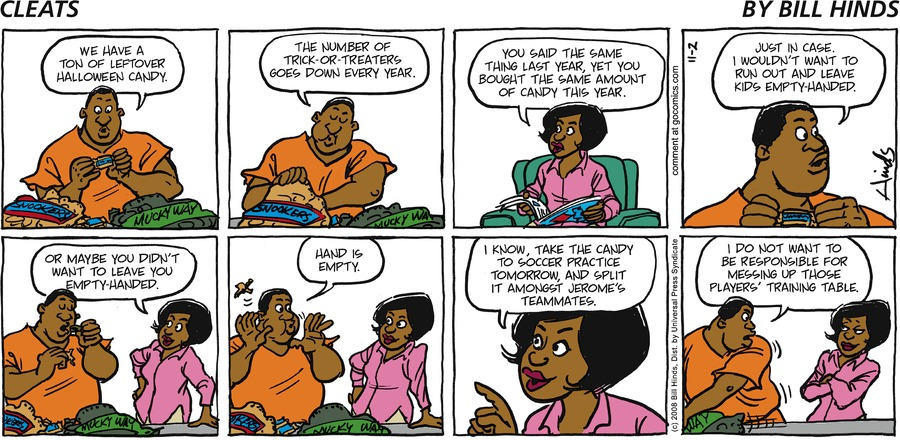 Cleats Comic Strip for November 02, 2008