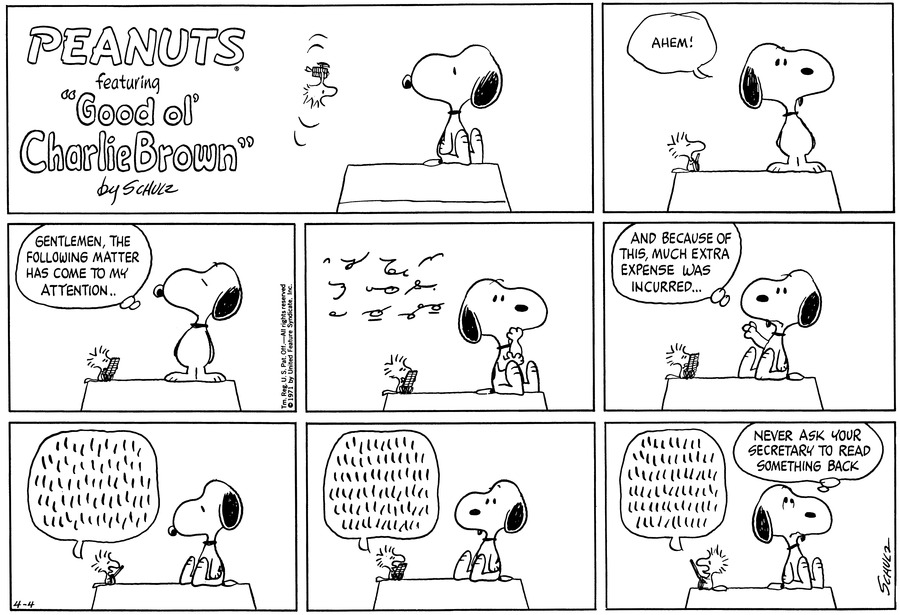 Peanuts Comic Strip for April 04, 1971