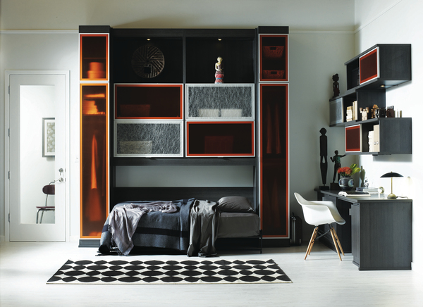 You can rest easy when your bedroom is organized. This wall unit features a foldout bed, so even the smallest space can be tidy.