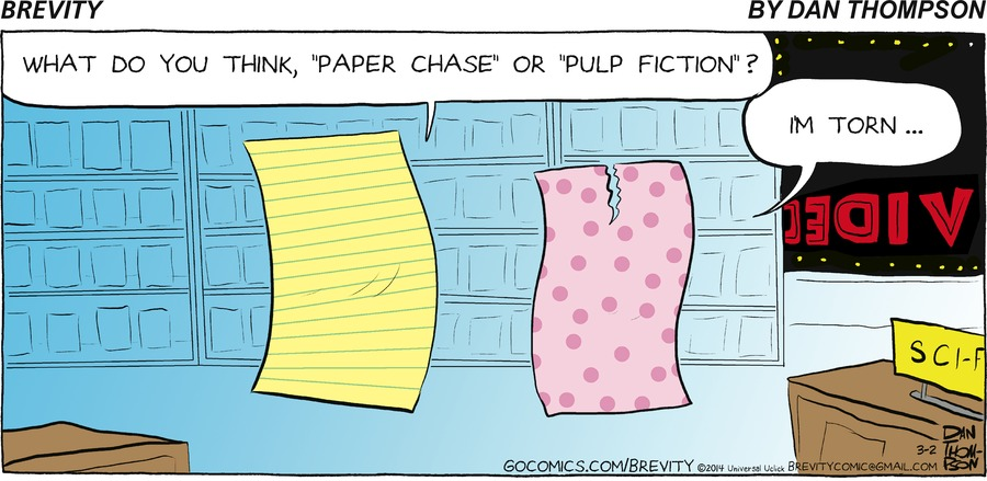 """Notepaper:  What do you think, """"paper chase"""" or pulp fiction?  Other paper: Im torn"""