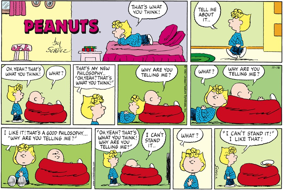 Peanuts Comic Strip for November 16, 1997