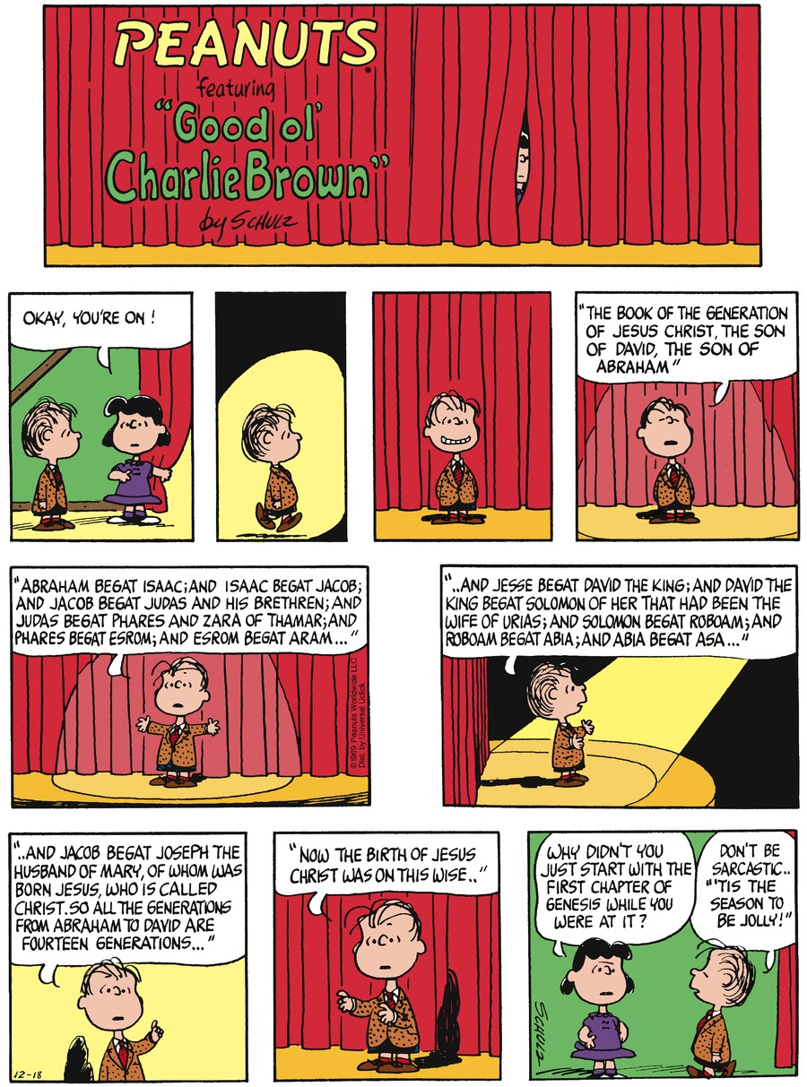 Peanuts Comic Strip for December 18, 2016