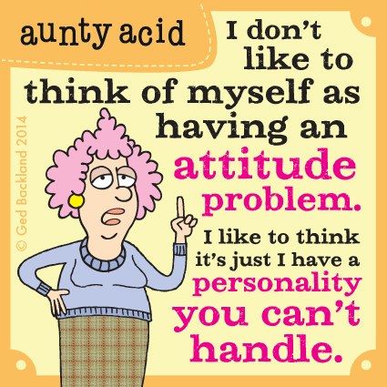 I don't like to think of myself as having an attitude problem. I like to think it's just I have a personality you can't handle.