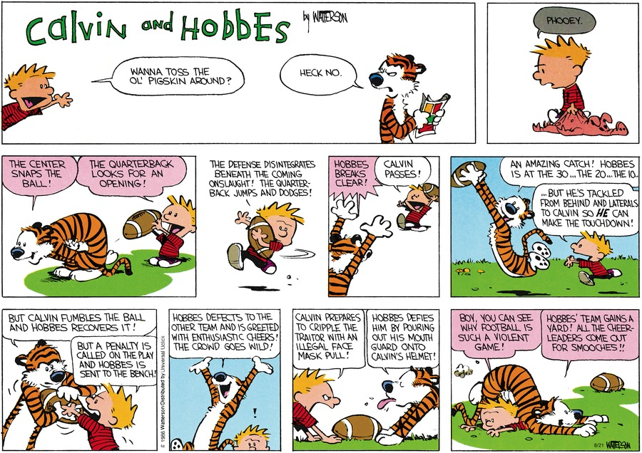 Calvin and Hobbes Comic Strip for August 21, 2016