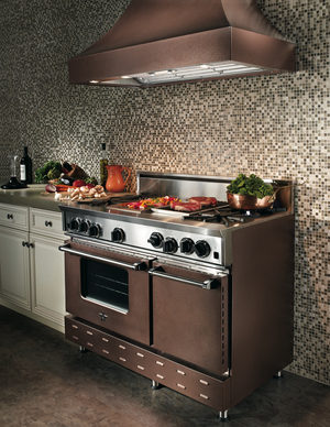 More than 750 colors and finishes are available so customers can build their own BlueStar range. Pictured here is BlueStar's eight-burner freestanding range with a Premium Copper Vein metallic texture and matching hood vent.