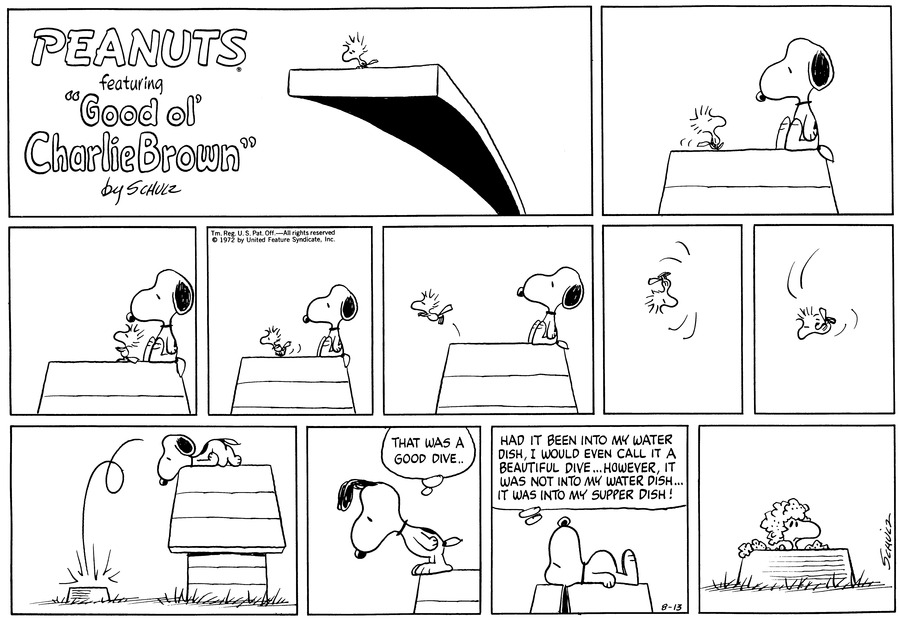 "Snoopy sits on top of his doghouse. Woodstock stands with him.<BR><BR> Snoopy watches Woodstock, who stands just in front of him.<BR><BR> Woodstock runs along the top of the doghouse as Snoopy watches.<BR><BR> Woodstock jumps off the doghouse.<BR><BR> He flips in the air.<BR><BR> He sails downward.<BR><BR> He lands with a splash in Snoopy's dish. Snoopy lies on his stomach and leans his head over the edge to watch.<BR><BR> ""That was a good dive.."" Snoopy thinks as he stands, leaning over to look.<BR><BR> ""Had it been into my water dish, I would even call it a beautiful dive... However, it was not into my water dish...it was into my supper dish!"" Snoopy thinks as he lies on his back.<BR><BR> Woodstock sticks his head out of the supper dish; he is covered with dog food.<BR><BR>"