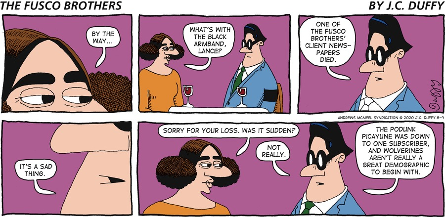 The Fusco Brothers Comic Strip for August 09, 2020