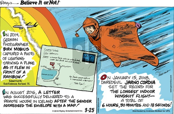 Ripley's Believe It or Not on Sunday March 25, 2018 Comic Strip