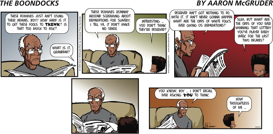 The Boondocks for Oct 12, 2003 Comic Strip