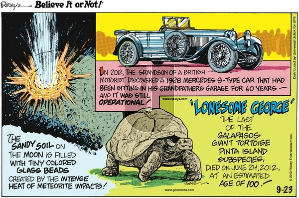 Ripley's Believe It or Not on Sunday September 23, 2012 Comic Strip