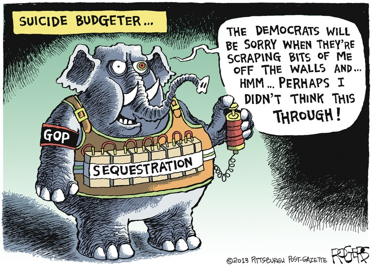 Elephant: The democrats will be sorry when they're scraping bits of me off the walls and... hmm... perhaps I didn't think this through! Suicide Budgeter...