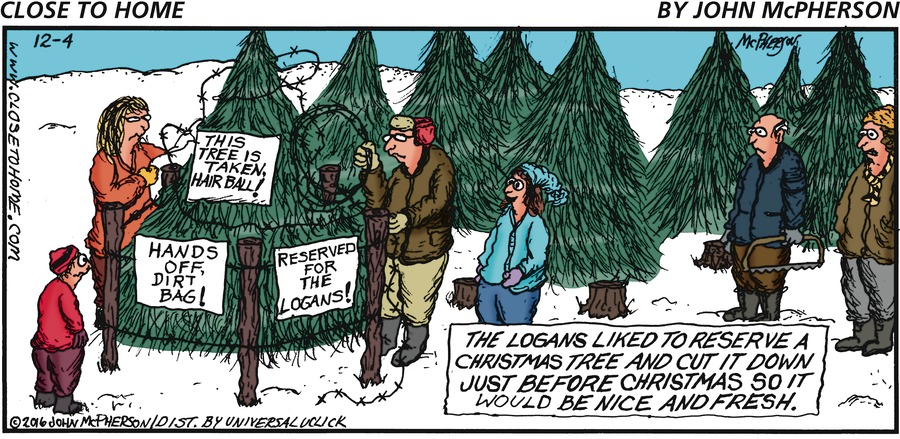 The logans liked to reserve a Christmas tree and cut it down just before Christmas so it would be nice and fresh