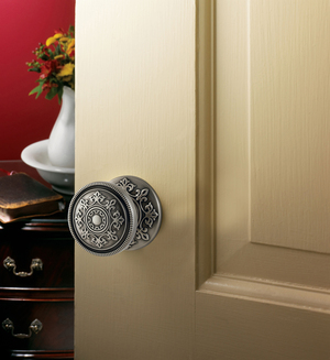 For a one-of-a-kind doorknob design, shiny finishes are out, while oil-rubbed and matte finishes are in. Baldwin Hardware's Couture line in its Estate portfolio offers decorated knobs in a variety of finishes, which includes this brushed nickel knob that retails for $310.