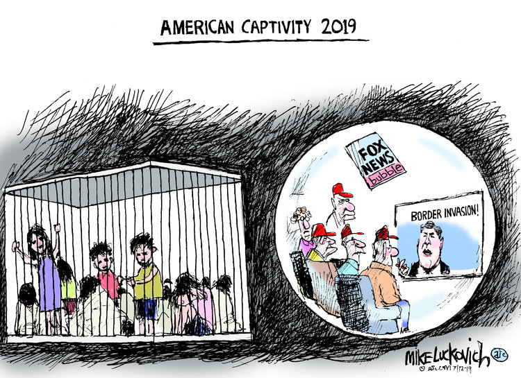 Title:  American Captivity 2019.  Image One:  Children in cages.  Image Two:  MAGA hat-wearing old white people watching Tucker Carlson on Fox News.