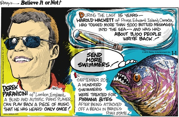 Ripley's Believe It or Not on Sunday January 1, 2012 Comic Strip