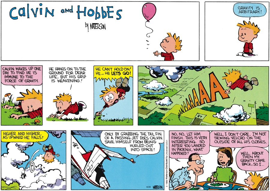 Calvin and Hobbes Comic Strip for August 28, 2016