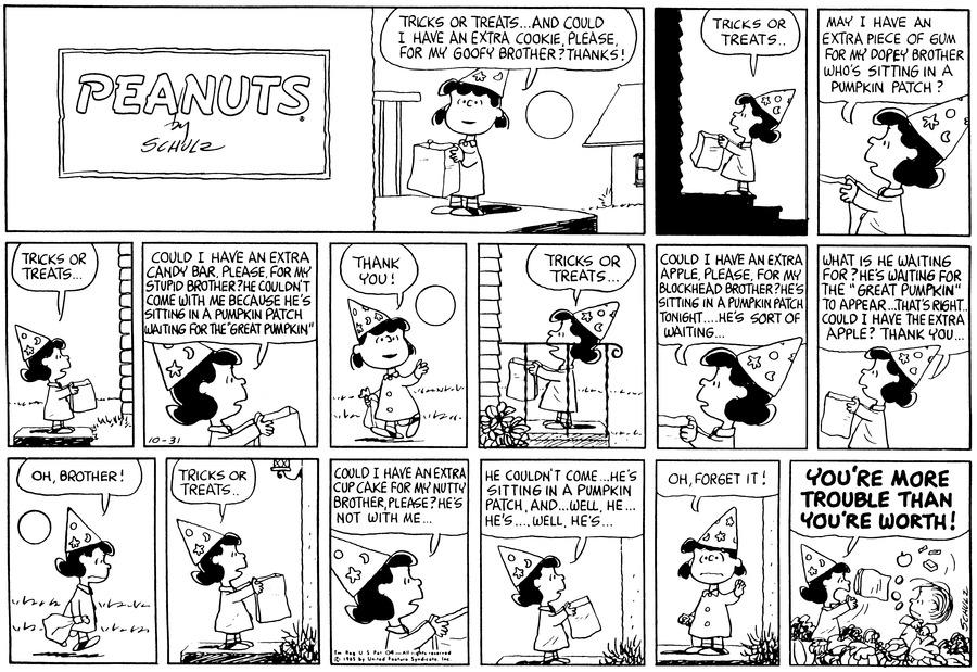 Peanuts Comic Strip for October 31, 1965