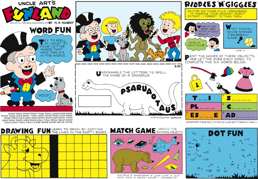 Uncle Art's Funland Comic Strip for August 24, 2014