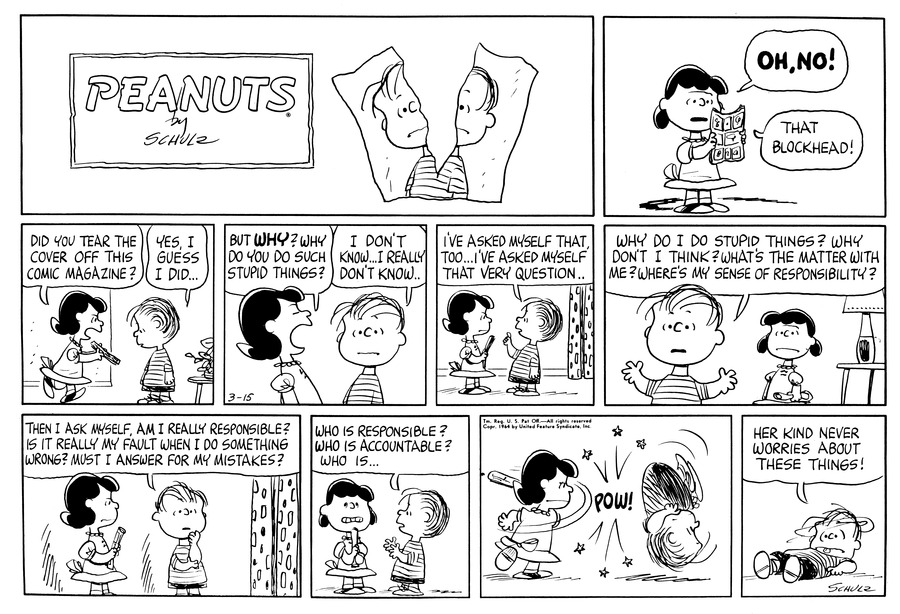 Peanuts Comic Strip for March 15, 1964