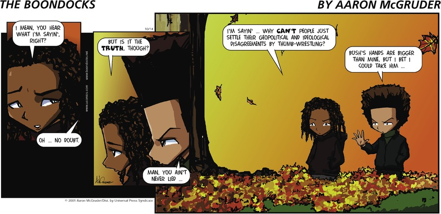 The Boondocks Comic Strip for October 14, 2001
