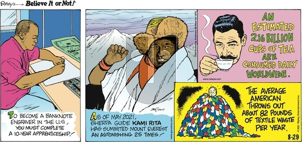 Ripley's Believe It or Not on Sunday August 29, 2021 Comic Strip