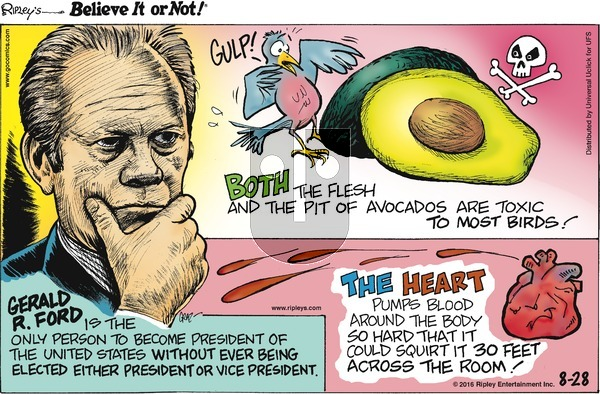 Ripley's Believe It or Not on Sunday August 28, 2016 Comic Strip