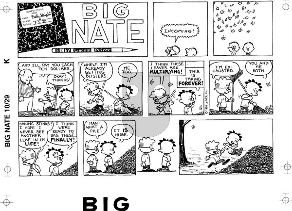 Big Nate on Sunday October 29, 1995 Comic Strip
