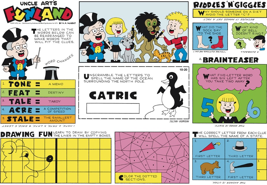 Uncle Art's Funland Comic Strip for October 20, 2019
