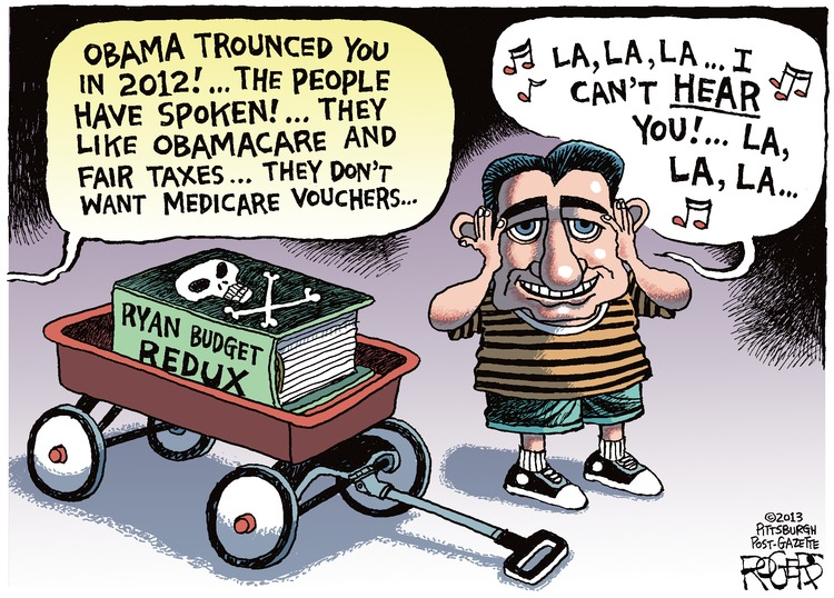 Voice: Obama trounced you in 2012! ...The people have spoken! ...They like Obamacare and fair taxes...they don't want Medicare vouchers...