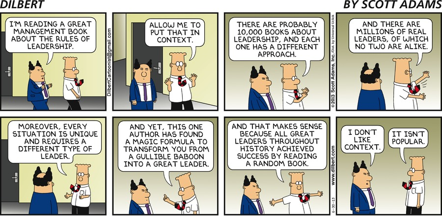 Dilbert explains all leadership books to his pointy-haired boxx