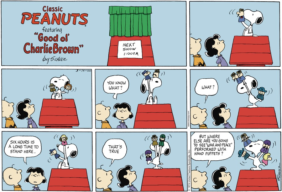 Peanuts Comic Strip for March 19, 2000