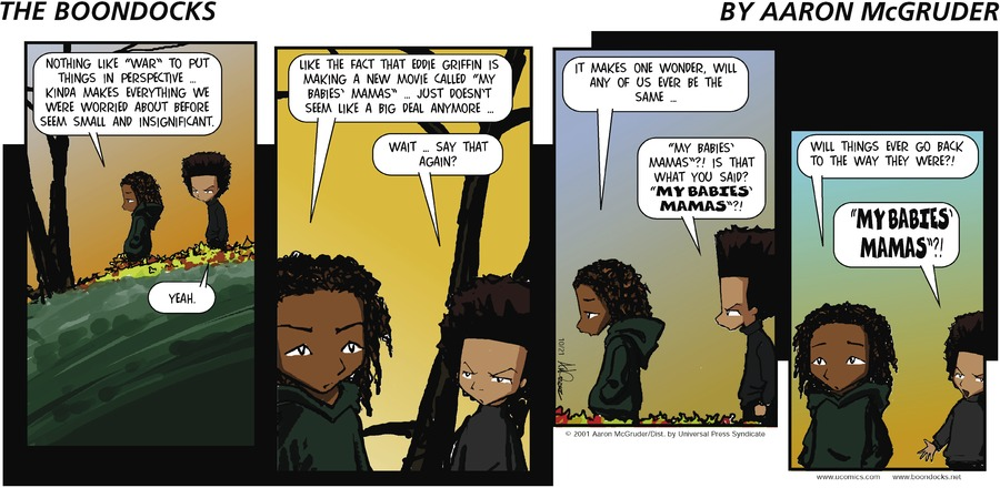 The Boondocks Comic Strip for October 21, 2001