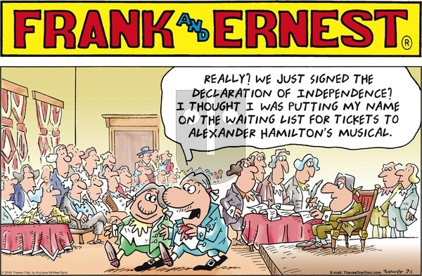 Frank and Ernest on Sunday July 1, 2018 Comic Strip