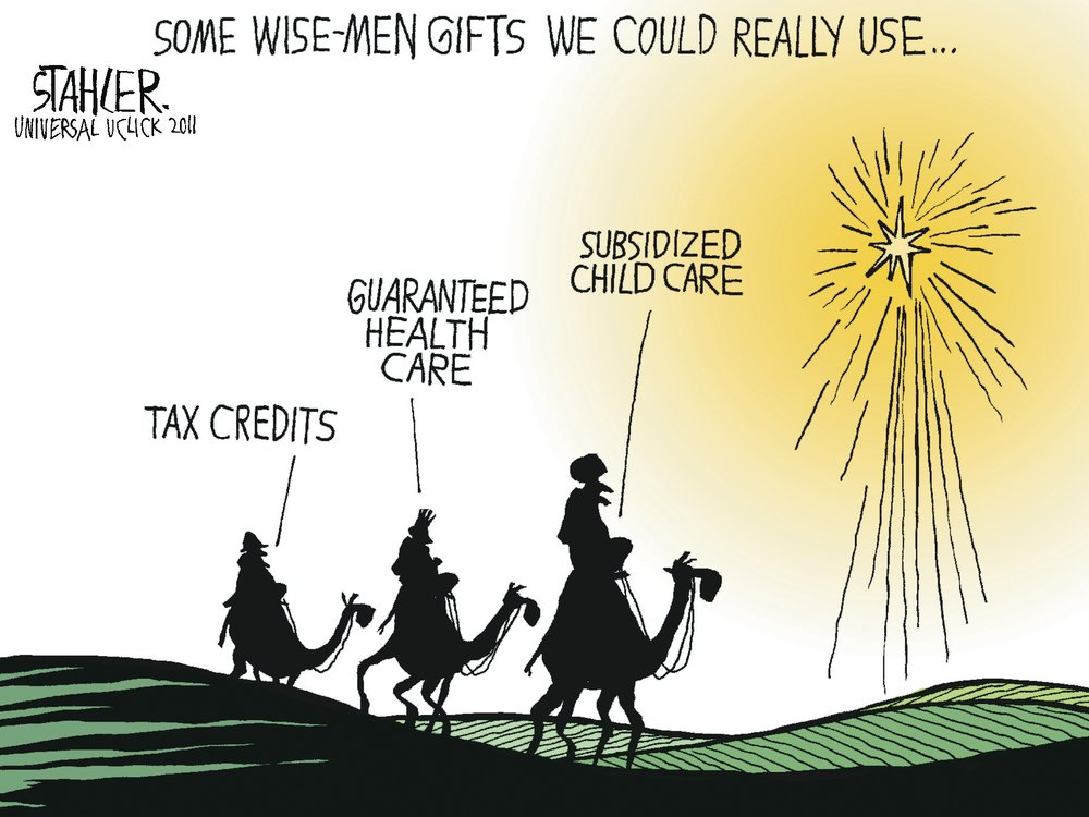 Some wise-men gifts we could really use... tax credits, guaranteed health care, subsidized child care.
