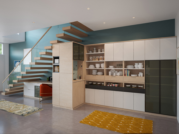 This alder wood pantry is a purposefully designed space with a place for everything, so everything is put back in its place. Rollout shelves are especially helpful in cabinetry, with dried goods placed in airtight containers.