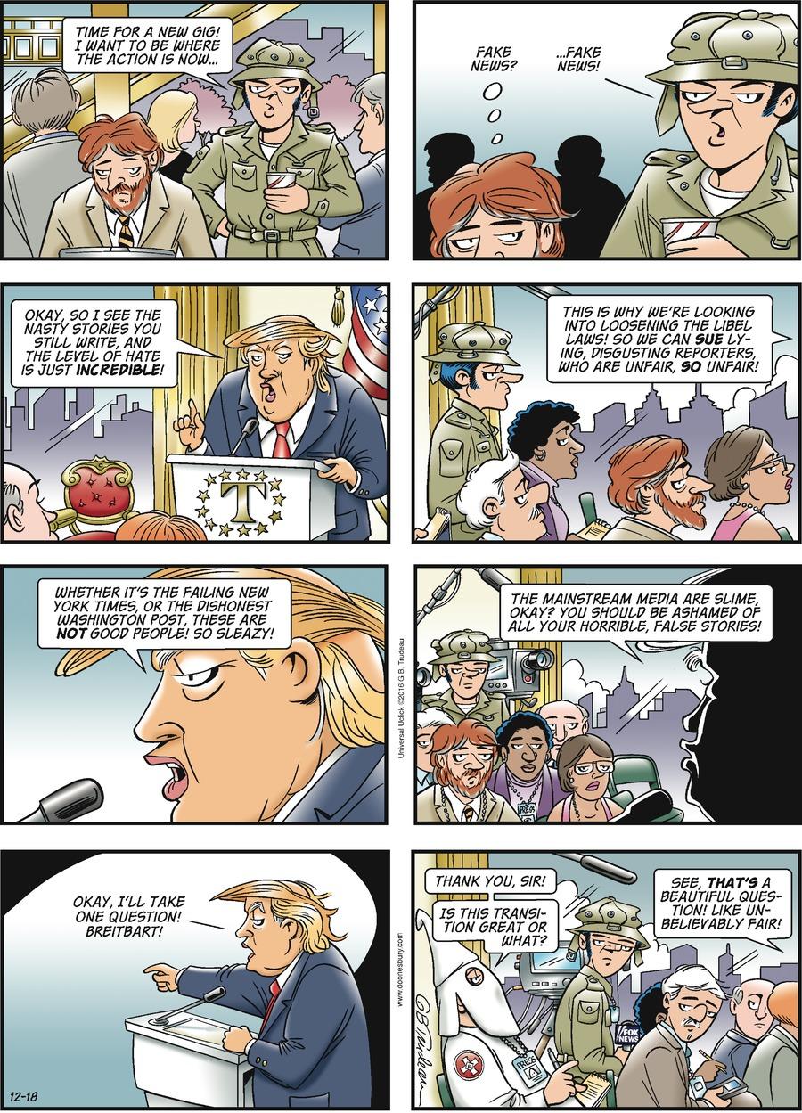 Doonesbury Comic Strip for December 18, 2016