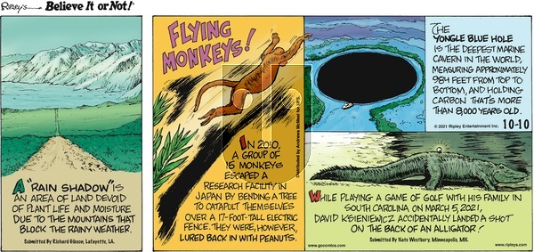 Ripley's Believe It or Not on Sunday October 10, 2021 Comic Strip