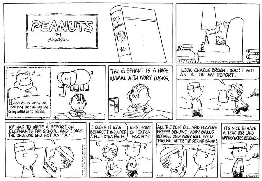 Peanuts Comic Strip for January 03, 1965