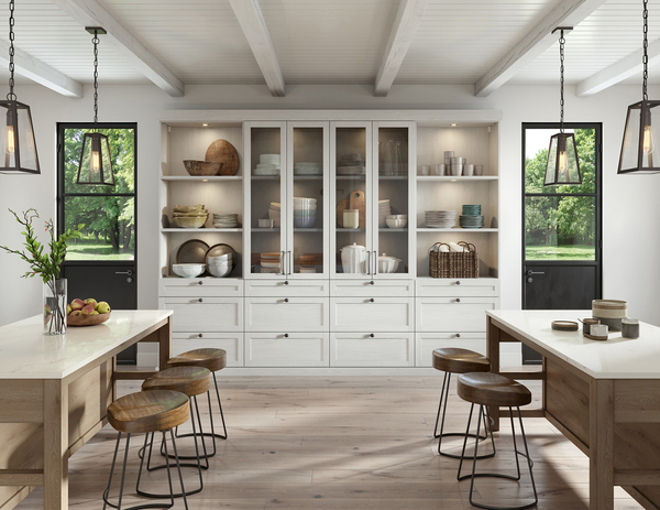Today's kitchen pantry not only stores food, it has also evolved into a work area that houses everything from large pots to small appliances. This modern farmhouse pantry shows you don't need an attached acreage to enjoy the clean design of farm living.