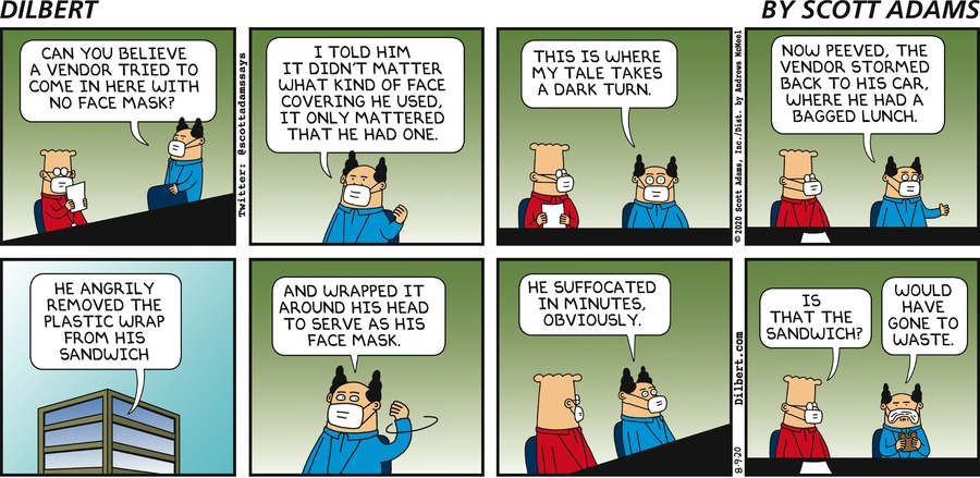 Vendor With No Facemask  - Dilbert by Scott Adams