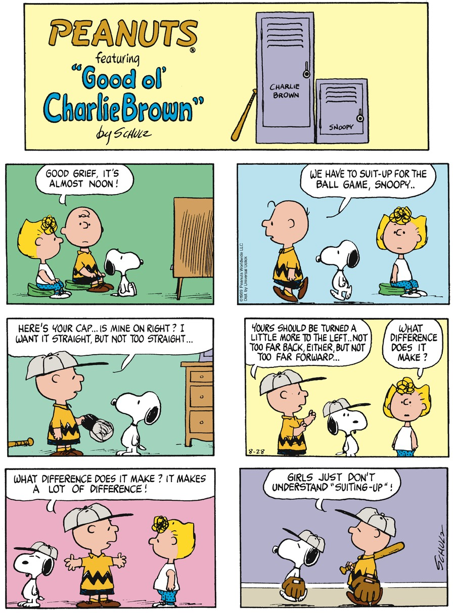Peanuts Comic Strip for August 28, 2016