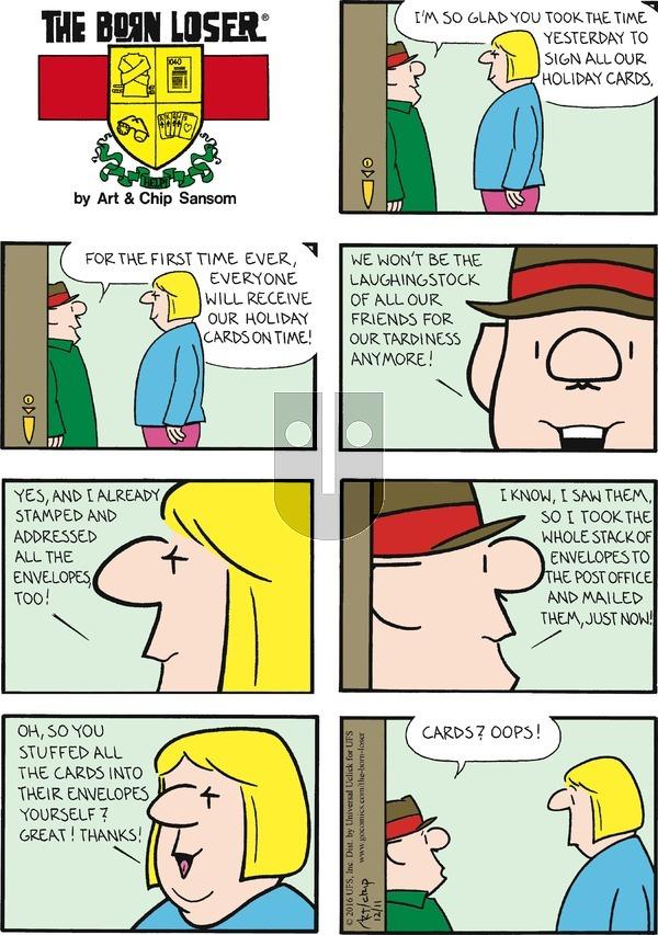 The Born Loser on Sunday December 11, 2016 Comic Strip