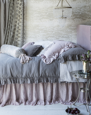 Isn't it romantic? Bella Notte's linen whisper collection is sewn from 100 percent linen and features soft 5-inch ruffles with petite ruffle trim. The duvet is finished with linen tie closures.