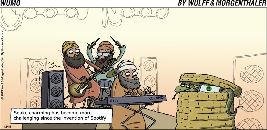 Snake charming has become more challenging since the invention of Spotify